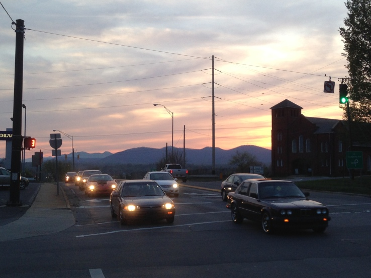 A sunset over the Blue Ridge Mountains in Asheville, NC